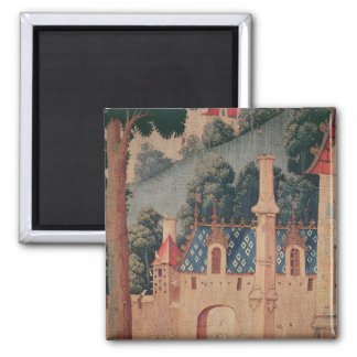 Fragment of a medieval tapestry 2 inch square magnet