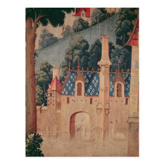 Fragment of a medieval tapestry postcard