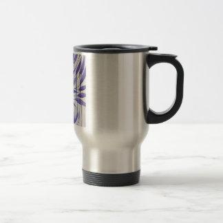 fragment of a purple cutting tree travel mug
