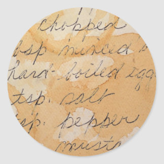 fragment of a recipe classic round sticker