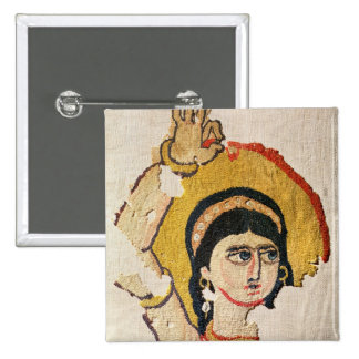 Fragment of a tapestry depicting the head of a dan 2 inch square button