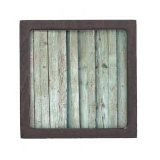 Fragment of an old fence with wooden planks jewelry box