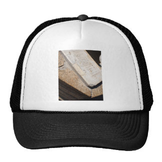 Fragment of ancient stone dial sundial closeup trucker hat
