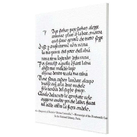 Fragment of Dante's  'Divina Commedia' Canvas Print