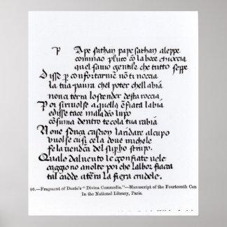 Fragment of Dante's  'Divina Commedia' Poster
