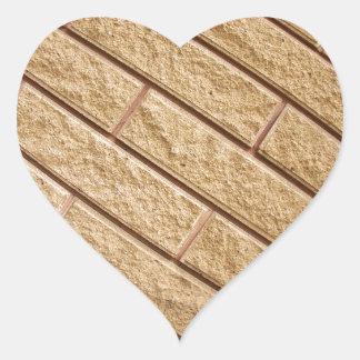 Fragment of decorative brickwork brown heart sticker
