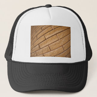 Fragment of decorative brown wall trucker hat