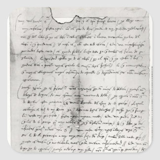 Fragment of letter written by Christopher Square Sticker