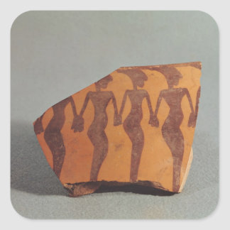 Fragment of pottery square sticker
