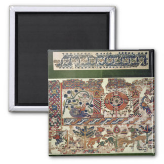 Fragment of textile depicting Jonah and the Whale 2 Inch Square Magnet