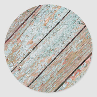 Fragment of the surface of the old wooden planks classic round sticker