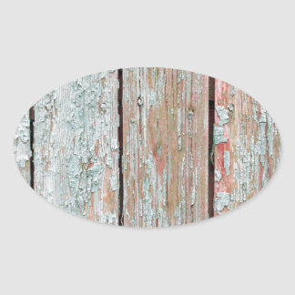 Fragment of the surface of the old wooden planks oval sticker