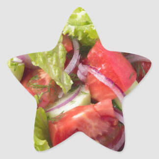 Fragment of vegetarian salad from fresh vegetables star sticker