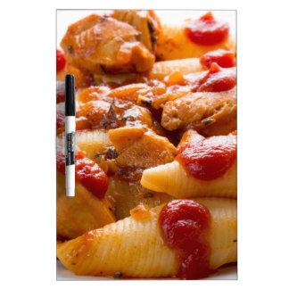 Fragment portion conchiglioni pasta and turkey dry erase board