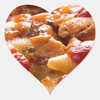 Fragment portion conchiglioni pasta and turkey heart sticker