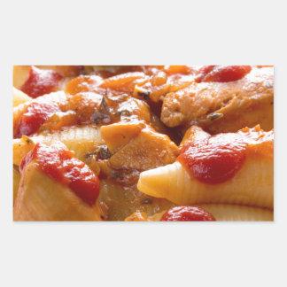 Fragment portion conchiglioni pasta and turkey rectangular sticker