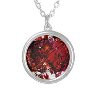 Fragmentalize - Red Monochrome Round Pendant Necklace