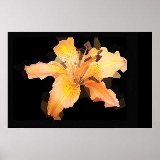 Fragmented Orange Flower Print