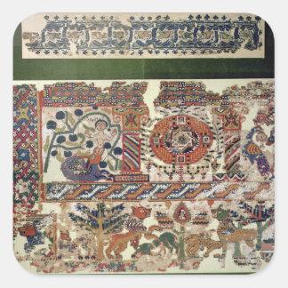 Fragmento de la materia textil que representa pegatina cuadrada