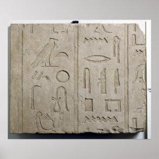 Fragmento de una inscripción jeroglífica póster