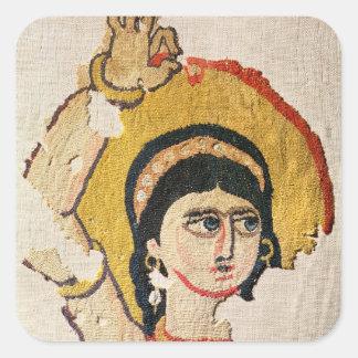 Fragmento de una tapicería que representa la pegatina cuadrada