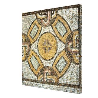 Fragmento del piso de los baños romanos lona envuelta para galerías