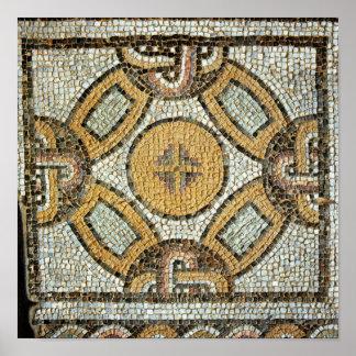 Fragmento del piso de los baños romanos póster