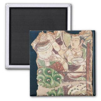 Fragmento que representa un paraíso budista imán para frigorifico