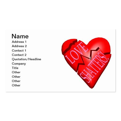 Fragmentos del amor tarjeta de negocio