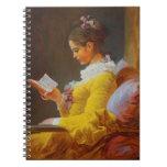 """Fragonard """"A Young Girl Reading (The Reader)"""" Spiral Notebook"""