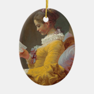 Fragonard's Young Girl Reading Ceramic Ornament