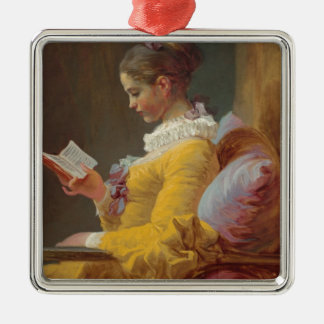 Fragonard's Young Girl Reading Metal Ornament