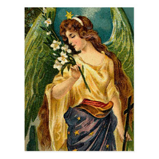 Fragrance - Angel with green wings. Postcard