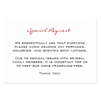 Fragrance Free Request Cards Large Business Card