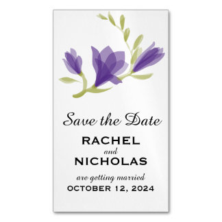 Fragrant Freesia Petals | Save the Date Business Card Magnet