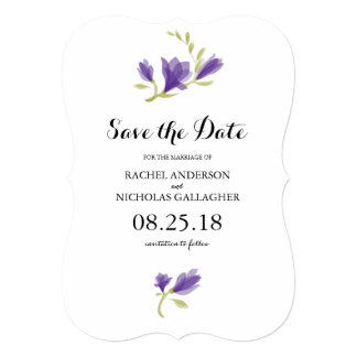 Fragrant Freesia Petals | Save the Date 5x7 Paper Invitation Card