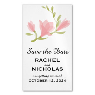 Fragrant Freesia Petals   Save the Date Magnetic Business Card