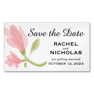 Fragrant Freesia Petals | Save the Date Magnetic Business Card