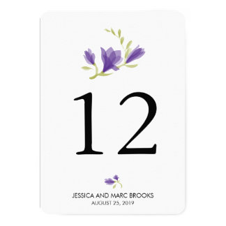 Fragrant Freesia Petals | Table Number 5x7 Paper Invitation Card