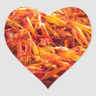 Fragrant saffron close-up heart sticker