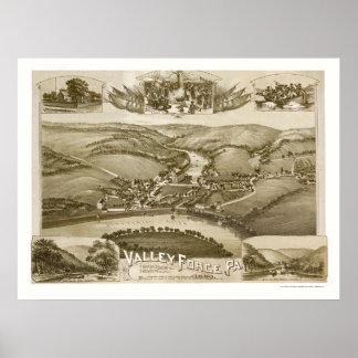 Fragua del valle, mapa panorámico del PA - 1890 Impresiones