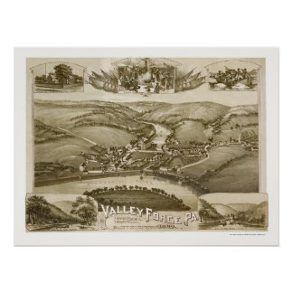 Fragua del valle, mapa panorámico del PA - 1890 Póster