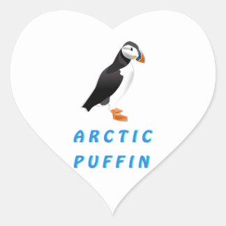 Frailecillo ártico pegatina en forma de corazón