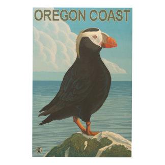 Frailecillo copetudo de la costa de Oregon Cuadros De Madera