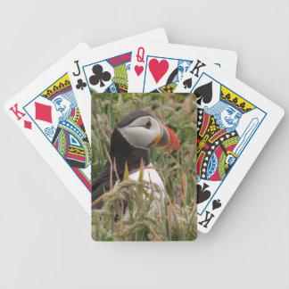 Frailecillo en la hierba baraja cartas de poker