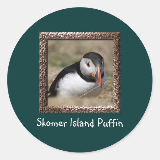 Frailecillos de la isla de Skomer Pegatina Redonda
