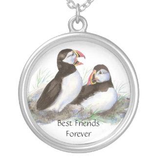 Frailecillos lindos, mejores amigos para siempre,  colgante redondo