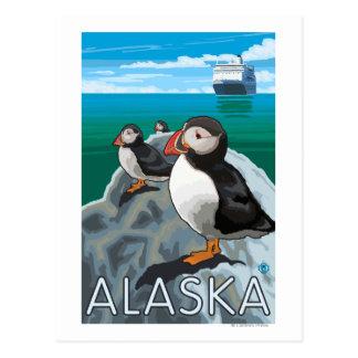 Frailecillos que miran un barco de cruceros tarjeta postal