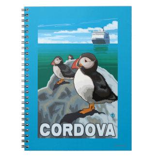 Frailecillos y barco de cruceros - Cordova, Alaska Libros De Apuntes