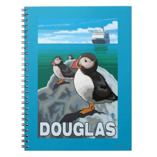 Frailecillos y barco de cruceros - Douglas, Alaska Spiral Notebooks